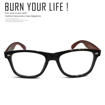 【鐵BOX】深色仿木紋鏡腳復古鉚釘眼鏡 造型眼鏡框 平光鏡 無度數 男女可戴