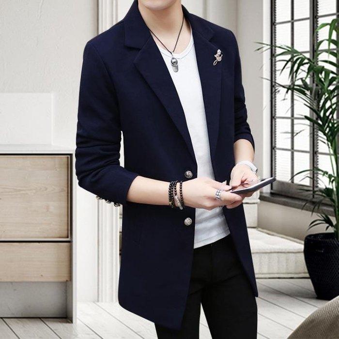 西裝   西服男中長款韓版修身青年西裝外套男休閒小西裝(可免費開立發票)