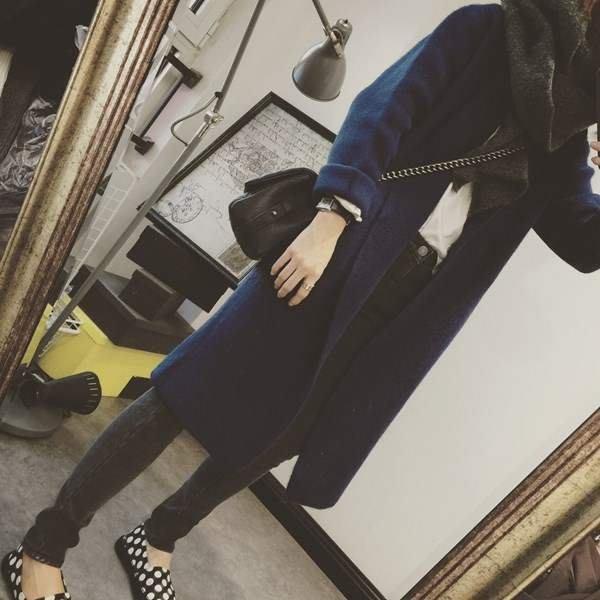 Modem Girl♥100%實拍  自留款!正韓 很厚實 高質感保暖羊駝大衣 2色
