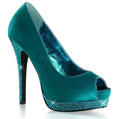 Shoes InStyle《五吋》美國品牌 BORDELLO 原廠正品水鑚緞面厚底高跟魚口鞋 有大尺碼『綠色』