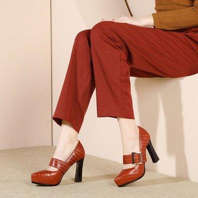H.G.M 歐美 真皮防水台粗跟 皮帶扣複古高跟鞋 HFK 121