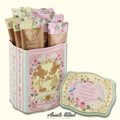 ArielWish日本東京迪士尼2019情人節禮物情侶浪漫粉紅色巴洛克可可高級巧克力餅乾鐵盒收納盒珠寶盒附專屬紙袋-現貨
