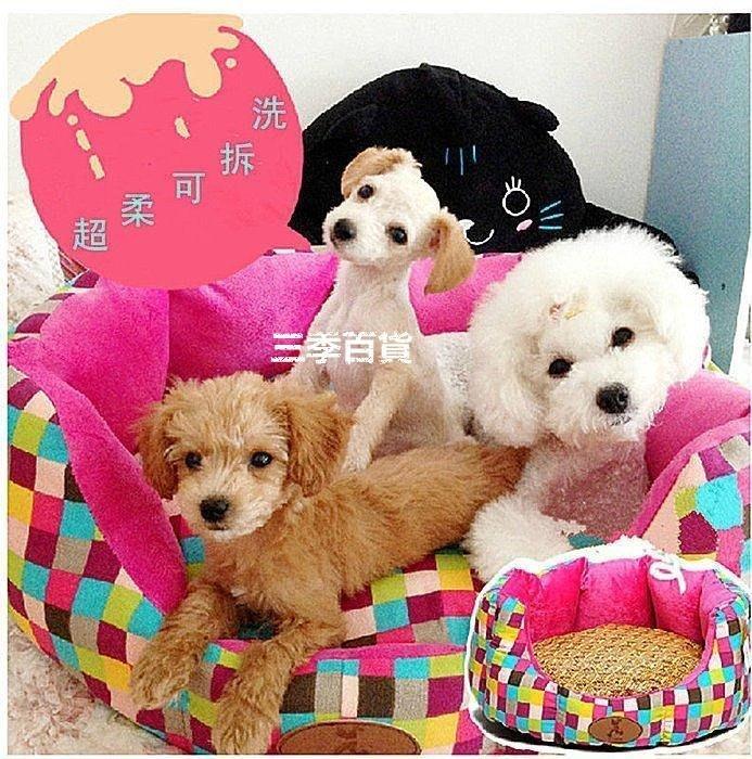 三季泰迪狗狗窩可拆洗小型犬比熊貴賓寵物窩墊子貓窩夏天狗床寵物用品❖551