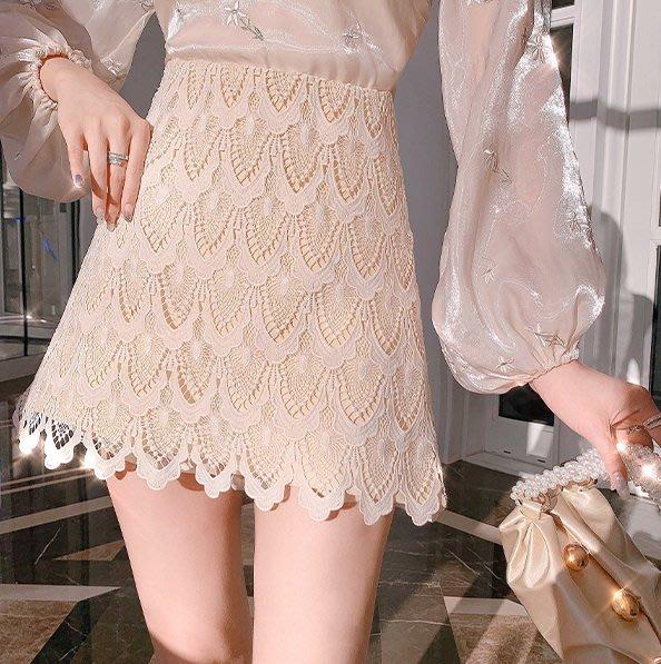 ◎緹蕾雅◎骨折價 高級訂製設計款韓版縷空蕾絲刺繡花邊包臀短裙實拍/蕾絲口罩羊毛羽絨背心針織外套毛帽收納保護貼/現+預