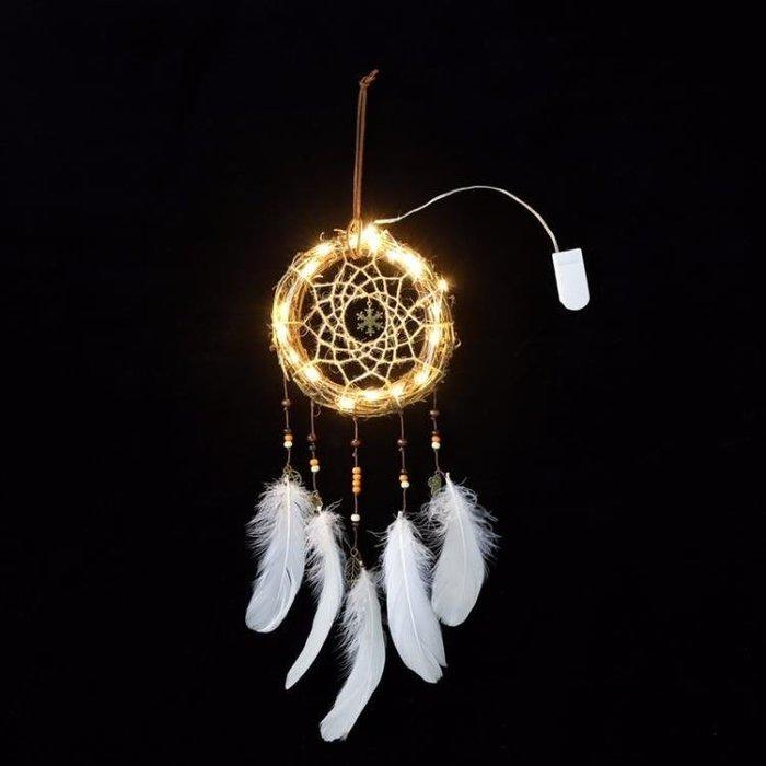 日繫少女心可愛補撲鋪夢網白色羽毛捕夢網房間裝飾拍攝道具臥室