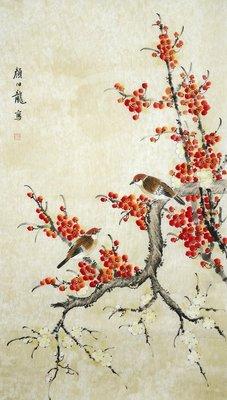 著名畫家顏伯龍  手繪國畫水墨畫 寫意花鳥贈榮寶齋證書
