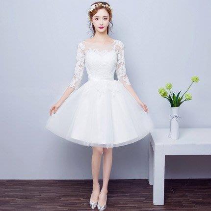 大小姐時尚精品屋~~白色七分袖新娘敬酒主持人短禮服- ~3件免郵
