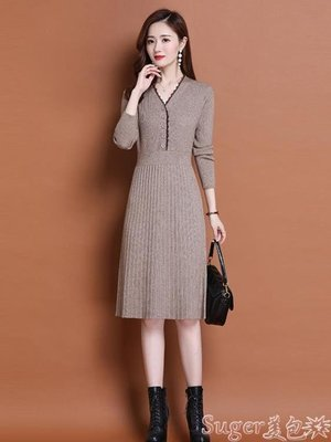 東亞熱銷-針織洋裝 秋冬裝2020年新款女配大衣的長款蕾絲毛衣裙過膝春秋針織連身裙潮-ccyc coll