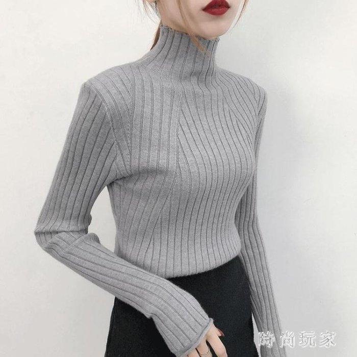 高領毛衣 新款慵懶風半高領毛衣女寬鬆長袖套頭女針織衫打底衫OB163