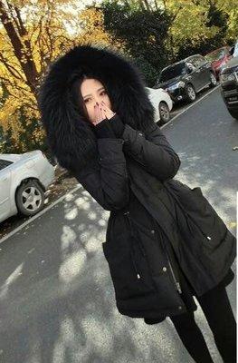 【🔥實拍🔥】韓 冬裝新款 超大毛領 復古風 連帽加厚修身顯瘦中長款羽絨棉衣 韓 新品 大尺碼【XS~2XL】