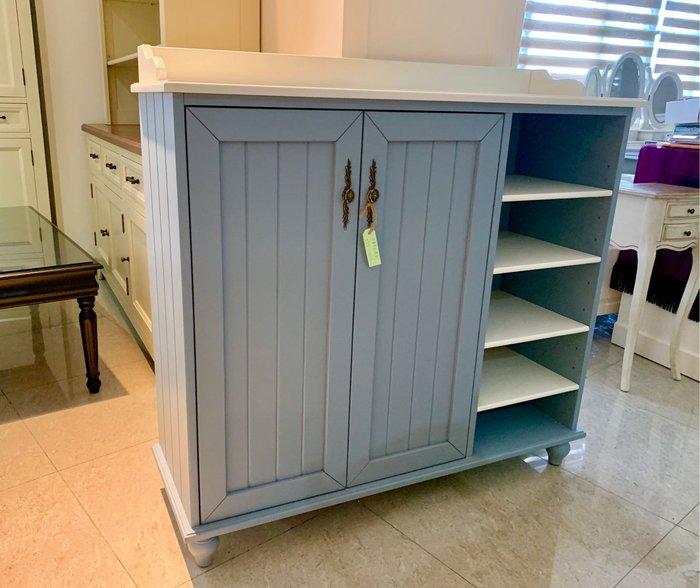 ~利百加家具(原上福傢俱)~ 全實木鞋櫃 地中海藍 全原木4尺鞋櫃.可定製白色.~