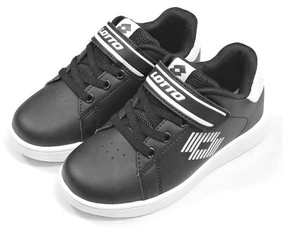 【菲瑪】LOTTO 1973經典室內網球鞋 滑板鞋 輕量童段黏帶 黑LT8AKR6980