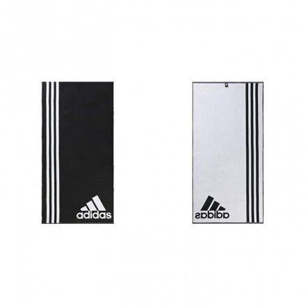 【AIRWINGS】ADIDAS AB8008 黑白雙面基本款LOGO運動毛巾 大浴巾