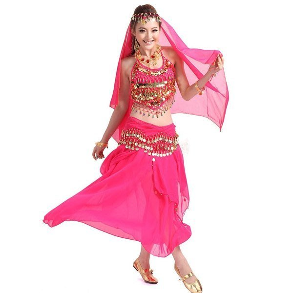 5Cgo【鴿樓】會員有優惠 25124168817 印度舞肚皮舞套裝裙肚兜舞蹈雪紡練習舞台表演出服裝舞衣舞裙含首飾八件套