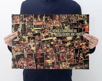 【貼貼屋】NBA 喬丹大帝合集 JORDAN 麥可喬丹 籃球 懷舊復古 牛皮紙 海報 壁貼A8