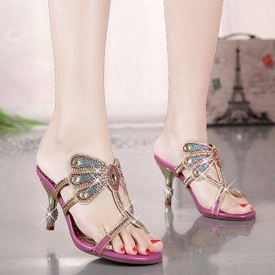 衣萊時尚-夏季新款拖鞋女水鉆涼鞋鑲鉆真...