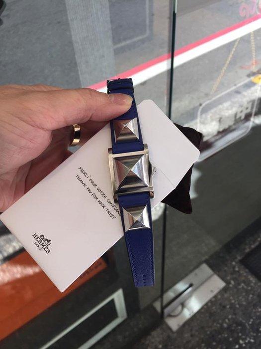 典精品名店 Hermes 愛馬仕 真品 CDC 藍色 銀釦 鉚釘錶 手錶 現貨