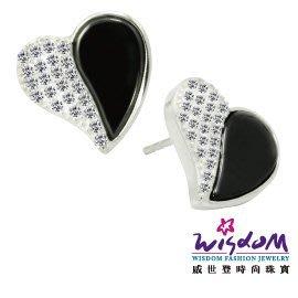黑白時尚風 愛心風信子石 親膚黑陶瓷 925銀耳環 送禮/自用 情人禮 生日禮 熱銷款 威世登時尚珠寶