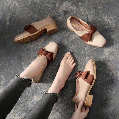 MORU部落 大碼女鞋41-43胖腳寬肥潮粗跟百搭新款春季新款百搭中跟單鞋春鞋M36RU