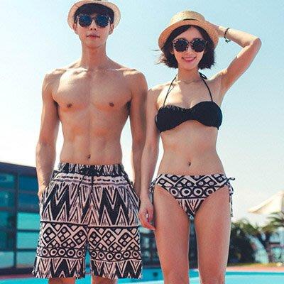 泳裝 幾何圖騰3件式比基尼情侶泳裝海灘褲【O2938】(女裝) ☆雙兒網☆