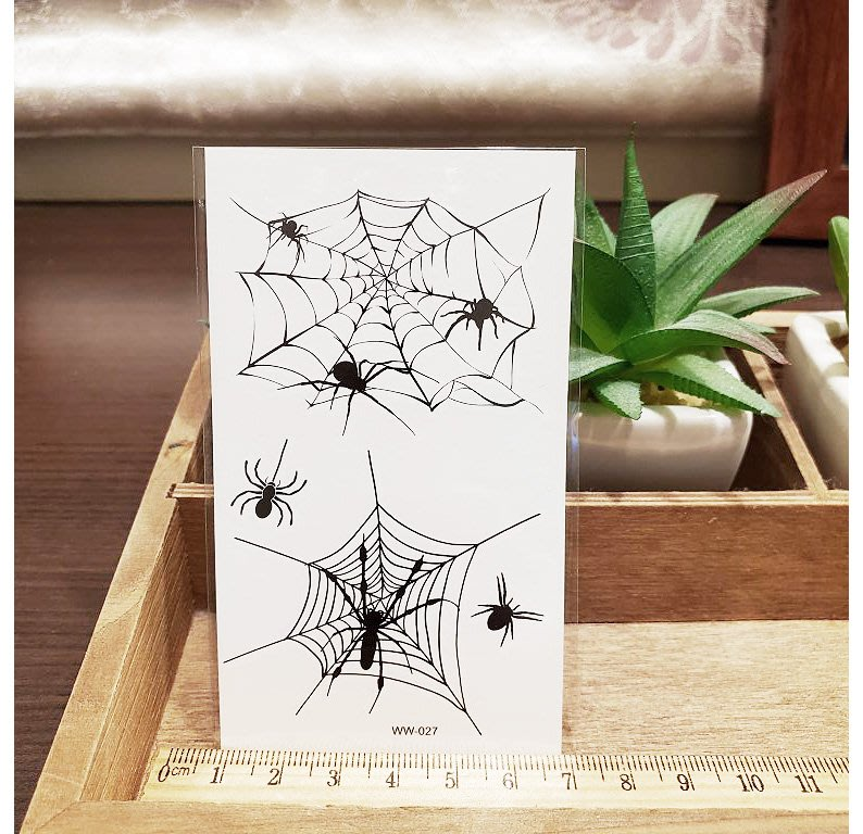 【萌古屋】】萬聖節黑色蜘蛛網 - 防水紋身貼紙刺青貼紙WW-027
