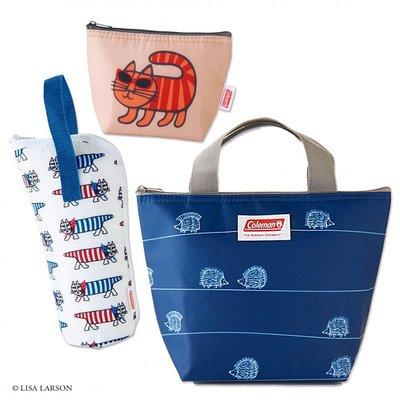 [瑞絲小舖]~日雜自然生活風格附錄Lisa Larson×Coleman保冷手提袋+保冷收納包+寶特瓶袋 (3件組)