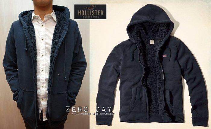 【零時差美國時尚網】HCO Hollister co.Sherpa-Lined Hoodie熊寶寶毛內裡連帽外套-深藍色