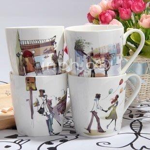 情侶杯 卡通漫畫 現代都市白領森女 情侶陶瓷水杯