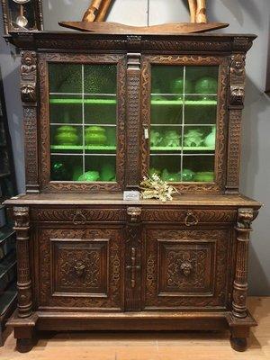 【卡卡頌 歐洲跳蚤市場/歐洲古董】※活動特價※1850法國古董_收納展示櫃細膩雕刻古董櫃 綠手工鑲嵌玻璃 ca0043✬