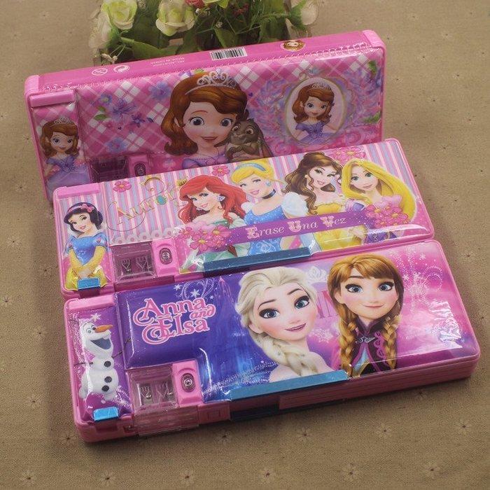 鉛筆盒筆袋女生男生正韓國版小學生女孩冰雪奇緣鉛筆盒艾莎與安娜公主雙面塑料兒童文具盒11-5