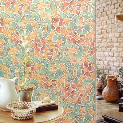 壁貼 復古彩繪自粘玻璃貼膜 臥室客廳遮光窗花紙裝飾衛生間窗貼玻璃紙