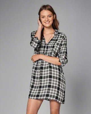 美國AF Abercrombie & Fitch女裝 PLAID PINTUCK SHIRTDRESS S號襯衫洋裝含運