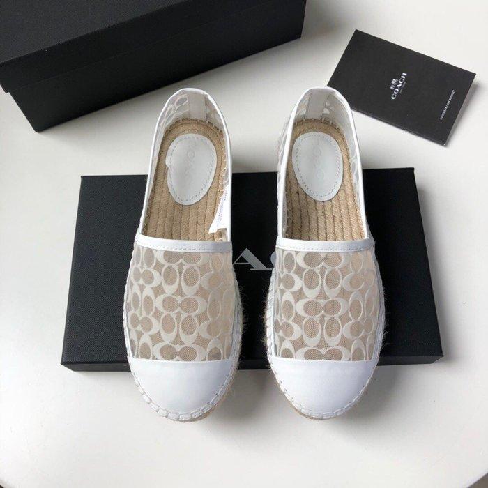 【小黛西歐美代購】COACH 寇馳 2020新款 白色漁夫鞋 滿版LOGO 休閒鞋 時尚精品 美國連線代購