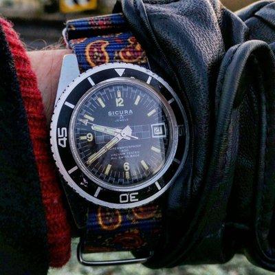 NATO 北約尼龍軍用錶帶 民族風變形蟲圖騰 藍紅橘 paisley Rolex Omega Bell Ross 220