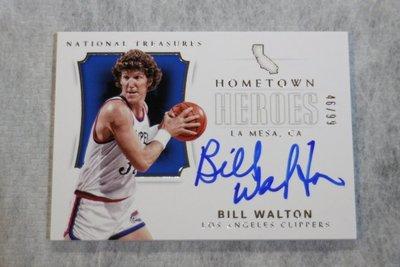 2017-18 大國寶 Hometown 家鄉英雄 Auto Bill Walton 限量99張簽名卡~名人堂球星