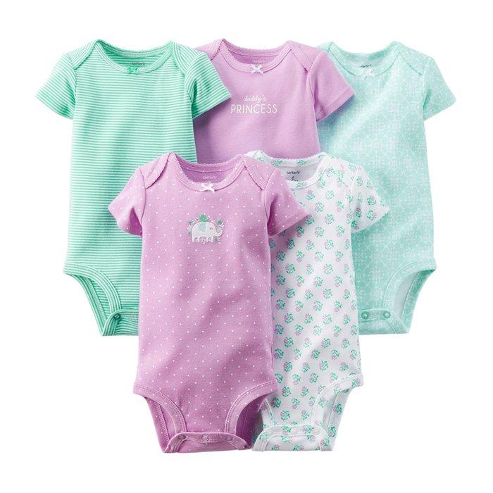小米媽美國小鋪 carter's 春夏超可愛紫色點點大象五件組包屁衣 9M