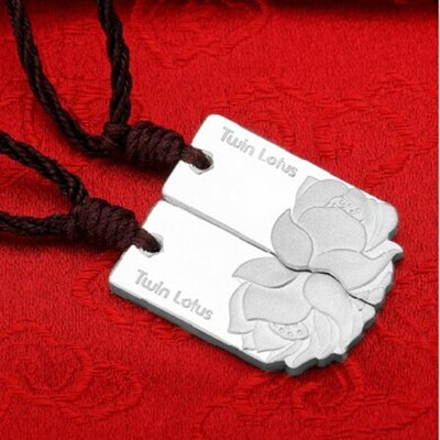 加恩 并蒂蓮銀項鏈999足銀男女情侶項鏈一對時尚銀條吊墜送女朋友,送親戚的禮物-mnb1