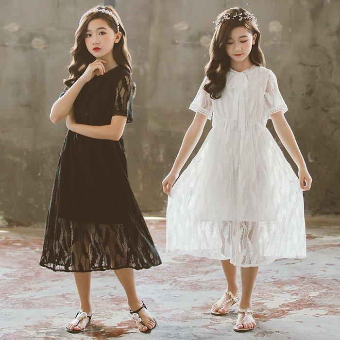 [C.M.平價精品館]新品特價120~165/大家閨秀蕾絲面料黑色/白色長版短袖洋裝  小童/中大童/親子母女裝