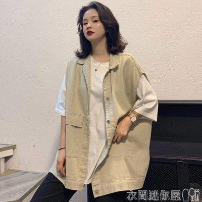 馬甲夏季韓版原宿風BF寬鬆百搭工裝薄款背心馬甲坎肩外穿外套女學