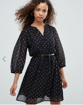 asos Yumi Petite Dress In Foil Star Print With Studded Belt