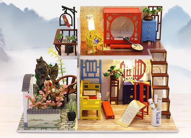【批貨達人】江南淺抿 手工拼裝 手作DIY小屋袖珍屋 帶防塵罩 迷你屋 創意小物生日禮物