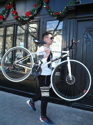 變速死飛自行車男公路賽車單車雙碟剎實心胎細胎成人學生熒光