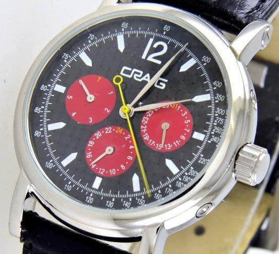 (六四三精品)CRAIG(真品)三眼六針(星期.日期.24小時制)多功能自動上鍊機械錶...紅