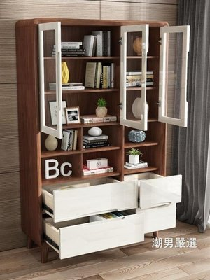書櫃北歐實木書櫃儲物櫃三門書櫃書架組合書房帶玻璃門書架 XW-喜氣洋洋