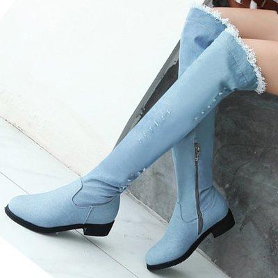 AS0163 34-39碼 牛仔 做舊 復古 過膝靴 長靴 長筒靴 馬靴  靴子 女靴 女鞋 大碼 女鞋 大尺碼女鞋