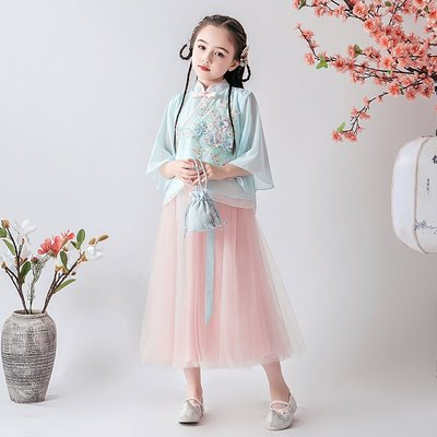 漢服 連身裙 長裙 童裝 旗袍兒童漢服女童中國風古裝超仙小女孩唐裝套裝寶寶童裝襦裙古風夏裝