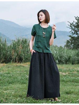 (老銀屋)夏季棉麻經典斜襟盤扣短袖上衣...