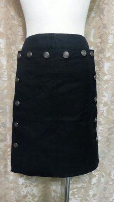 ~麗麗ㄉ大碼舖~大尺寸#8(31吋)黑色前扣式後雙口袋彈性短裙~