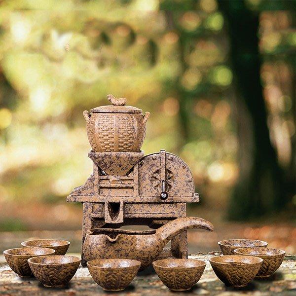 5Cgo【茗道】含稅會員有優惠 531933506615 豐谷粗陶瓷半自動茶具套裝日式複古木釉下彩新骨瓷德化縣茶壺公道杯