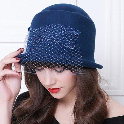 羊毛呢帽 禮 帽-優雅氣質網紗蝴蝶結女帽子2色73tk35[獨家進口][米蘭精品]